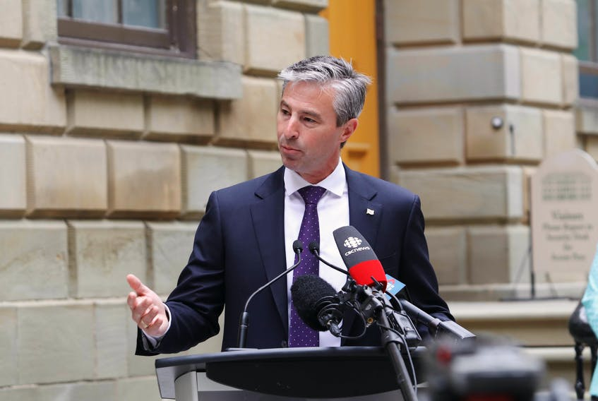 Nova Scotia Conservative Leader Tim Houston speaks to the media on the grounds of Province House Wednesday morning. The party has released a school reopening plan for September.