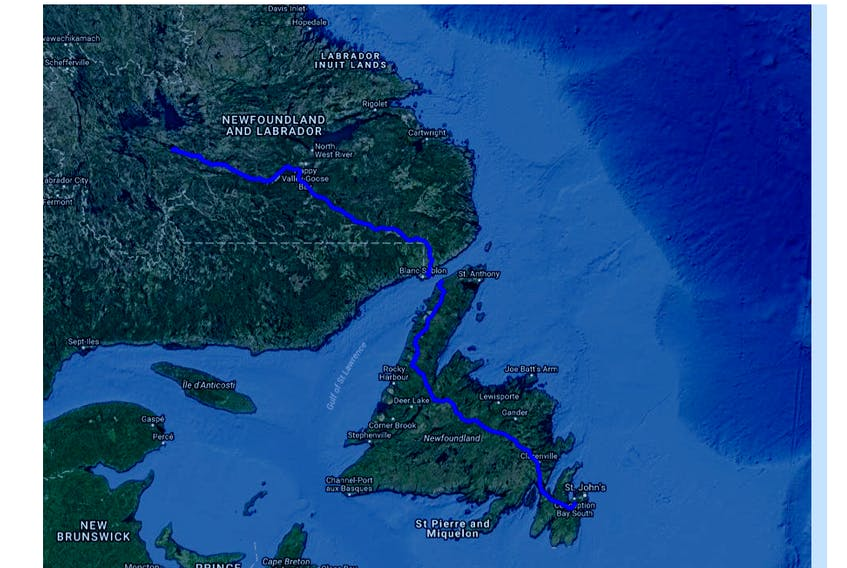 Submitted — A map shows the route of the Churchill Falls-Muskrat Falls and the Labrador-Island Transmission Link transmission lines.
