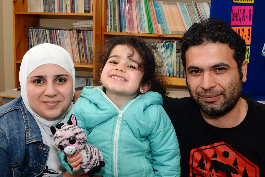 Almohannad Allou (right) and his family — wife Esraa (left) and daughter Maab, 4, are from Syria. The couple also have a son, Ahmab, 7. They are one of the countless success stories of people who have completed the Rabbittown Learners Program Inc. during its 30-year history.