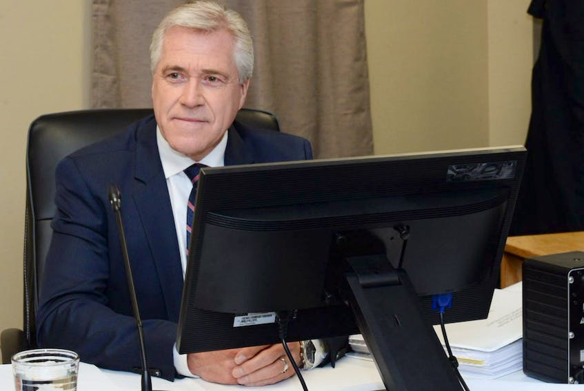 Premier Dwight Ball at the Muskrat Falls Inquiry in St. John's on Thursday.
