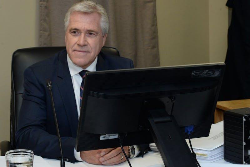 Premier Dwight Ball at the Muskrat Falls Inquiry in St. John's on Thursday. - Joe Gibbons