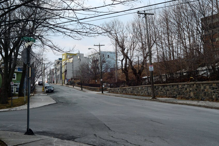 This area of Long's Hill and Livingstone Street in downtown St. John's is often frequented by people working in the sex trade.