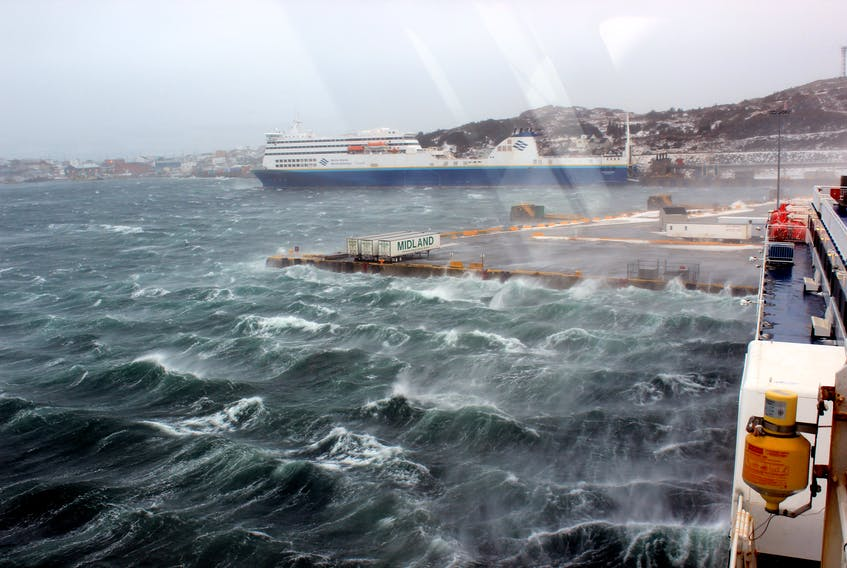 Marine Atlantic's ferry Blue Puttee docked in Port aux Basques. The ferry service has seen multiple cancellations — sometimes for days — as a result of more frequent extreme weather conditions.