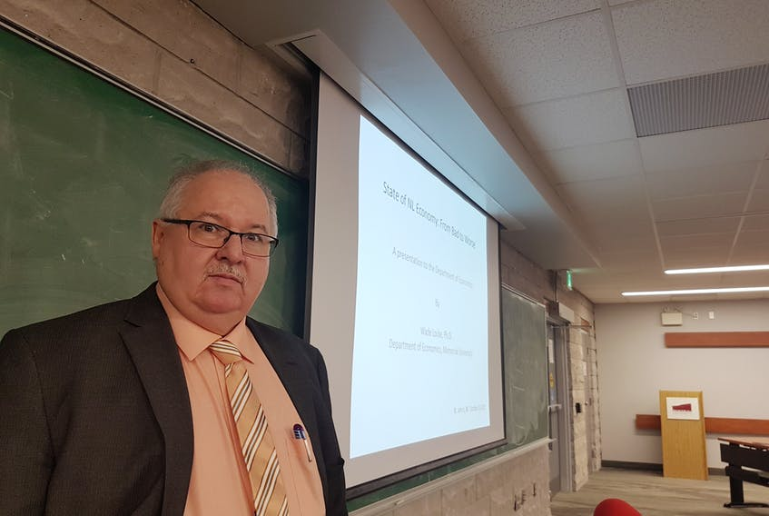Memorial University economics department head Wade Locke delivered a public lecture on Friday, and painted a grim picture of the state of the Newfoundland and Labrador economy.