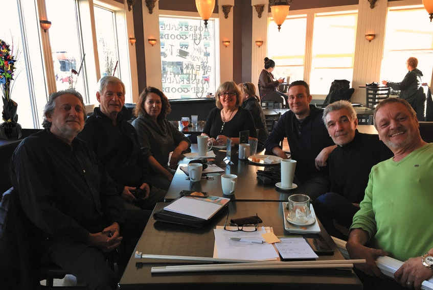 The founders of Independent Publishers of Newfoundland and Labrador at their first meeting (from left): Herb Hopkins, John Greene, Liz Graham, Daphne MacNeil, Scott Bartlett, Marin Darmonkow and Jeff Kelland.