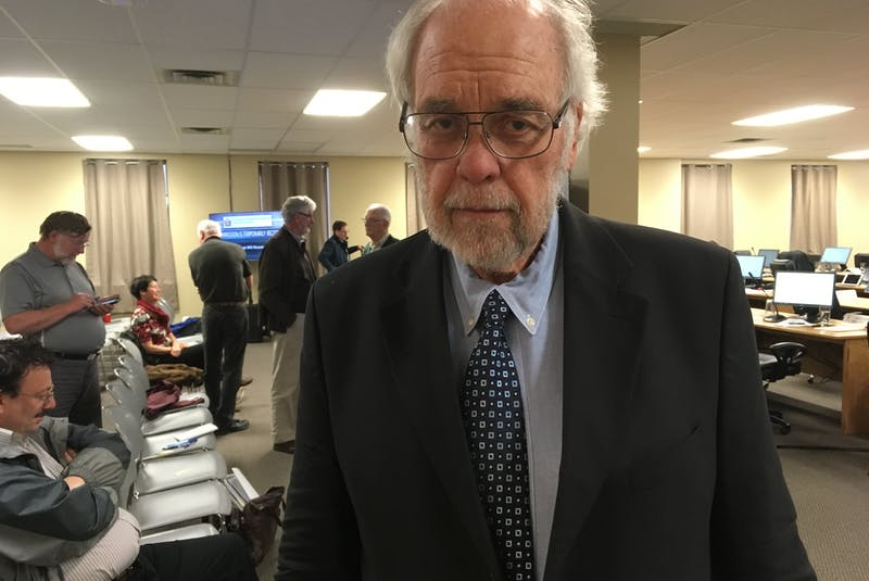 Andy Wells, former chairman of the Board of Commissioners of Public Utilities (PUB), was at the Beothuk Building in St. John's to testify at the Muskrat Falls Inquiry. - Ashley Fitzpatrick