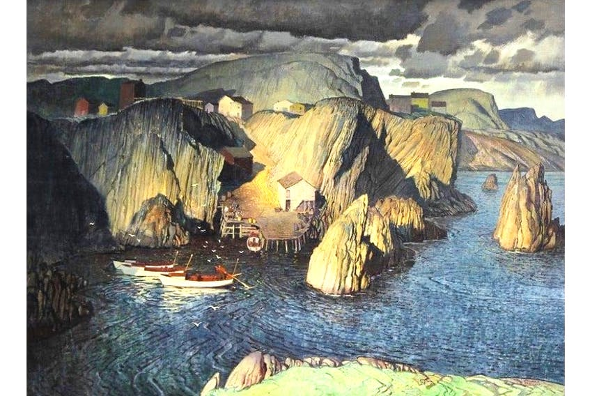 """""""True Lovers Leap, Newfoundland,"""" painted by the late Franklin Arbuckle of Toronto, sold for $30,680 — five times more than the opening bid of $6,000 — in an online auction held by Cowley Abbott auctioneers."""