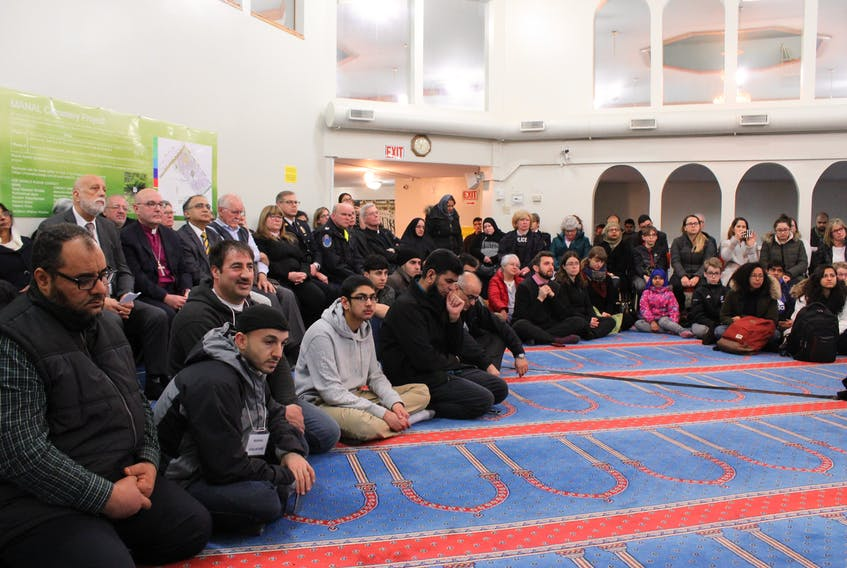 A vigil was held at the Masjid-al-Noor Mosque in St. John's on Monday to show solidarity with the local Muslim community on the first anniversary of a shooting at a Quebec City mosque in which six men were killed.