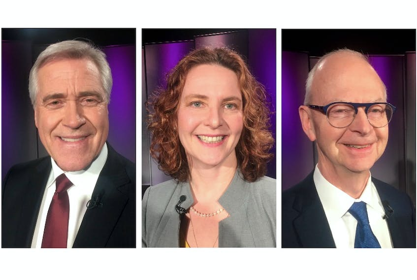 From left, Liberal Leader Dwight Ball, NDP Leader Alison Coffin and Progressive Conservative Leader Ches Crosbie at Wednesday' night's televised debate.