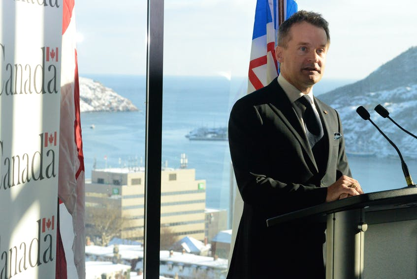 St. John's South-Mount Pearl MP Seamus O'Regan speaks Tuesday at The Rooms during an announcement of a federal-provincial expenditure of $28.45 million for high-speed internet access in the province.