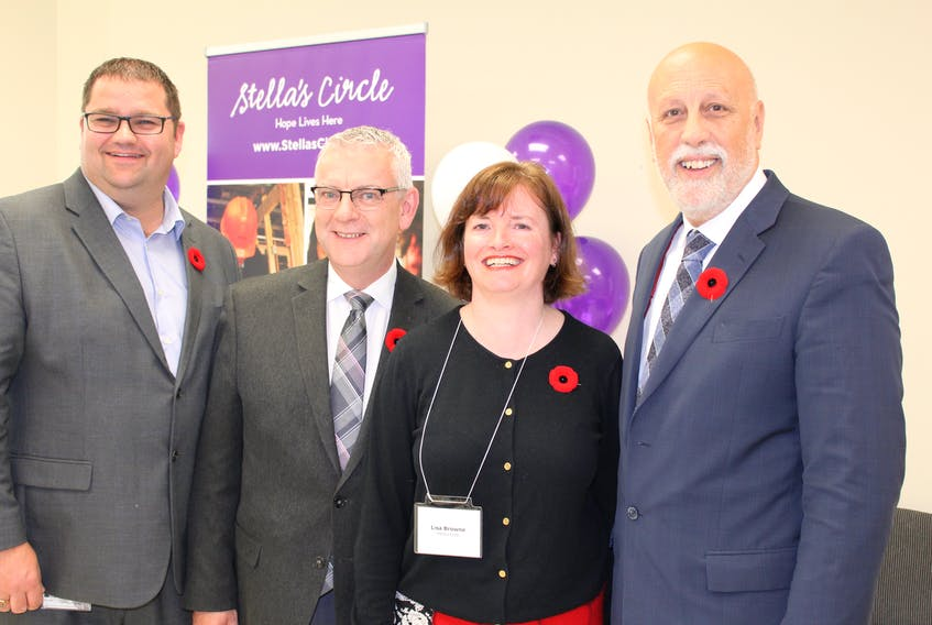 Joining Stella's Circle CEO Lisa Browne were (from left) MHA Bernard Davis, St. John's Mayor Danny Breen and Minister of Advanced Education, Skills and Labour Al Hawkins.