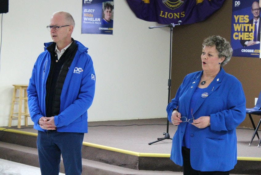 Ches Crosbie and Tory candidate Hilda Whelan address a room of around 50 supporters in Whitbourne on Saturday evening.