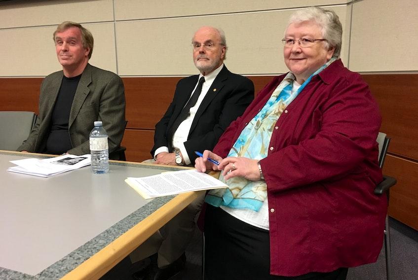 Panellists (from left) Stephen Tomblin, economist David Vardy and Sister Elizabeth Davis.
