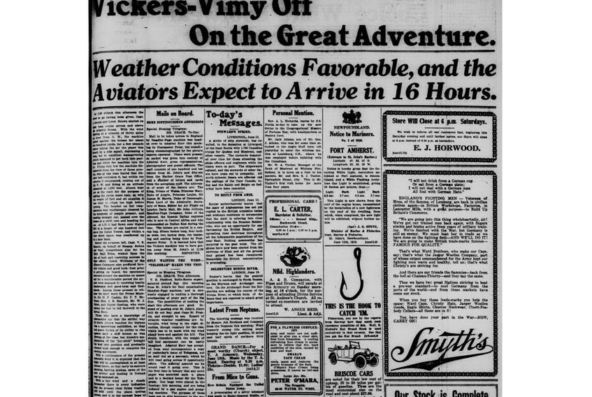 Page 1 of The Evening Telegram reports on Capt. John Alcock and Lt. Arthur Brown taking off from St. John's on June 14, 1919.