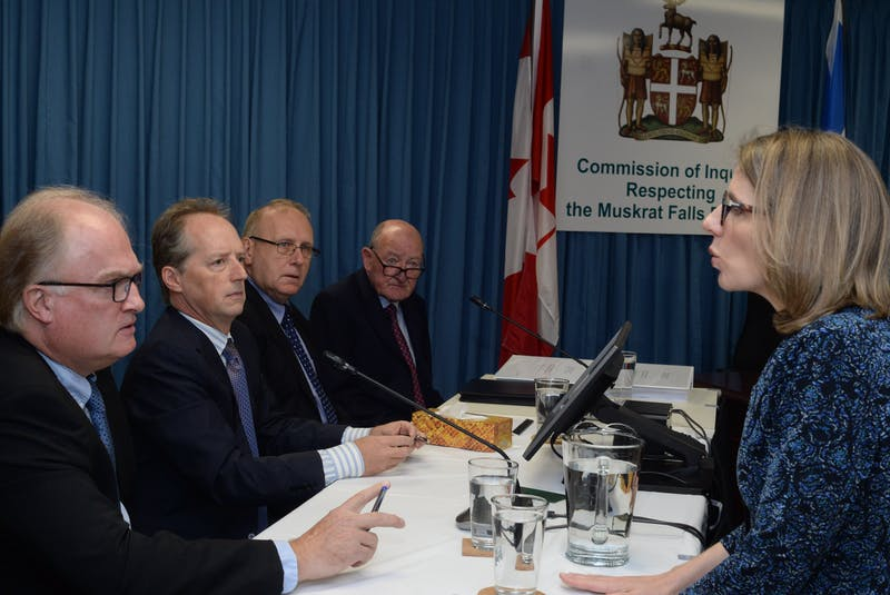 Four former members of the board of directors of Nalcor Energy took to the witess seats side by side at the Commission of Inquiry Respecting the Muskrat Falls Project to begin Week 3 of the St. John's hearings at the Beothuck Building in the capital city. From left are Tom Clift, Ken Marshall, Terry Styles and Gerry Shortall. At right is inquiry co-counsel Kate O'Brien. - Joe Gibbons