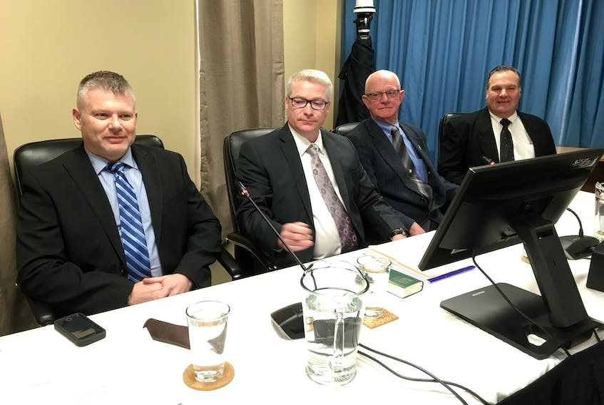 A workers' panel was called at the Muskrat Falls Inquiry in St. John's on Friday, March 15. The panel included (from left) Ed Knox, Perry Snook, Ken White and Larry Cavaliere.