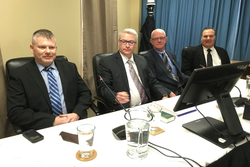 A workers' panel was called at the Muskrat Falls Inquiry. The panel included (from left) Ed Knox, Perry Snook, Ken White and Larry Cavaliere. - SaltWire Network file photo