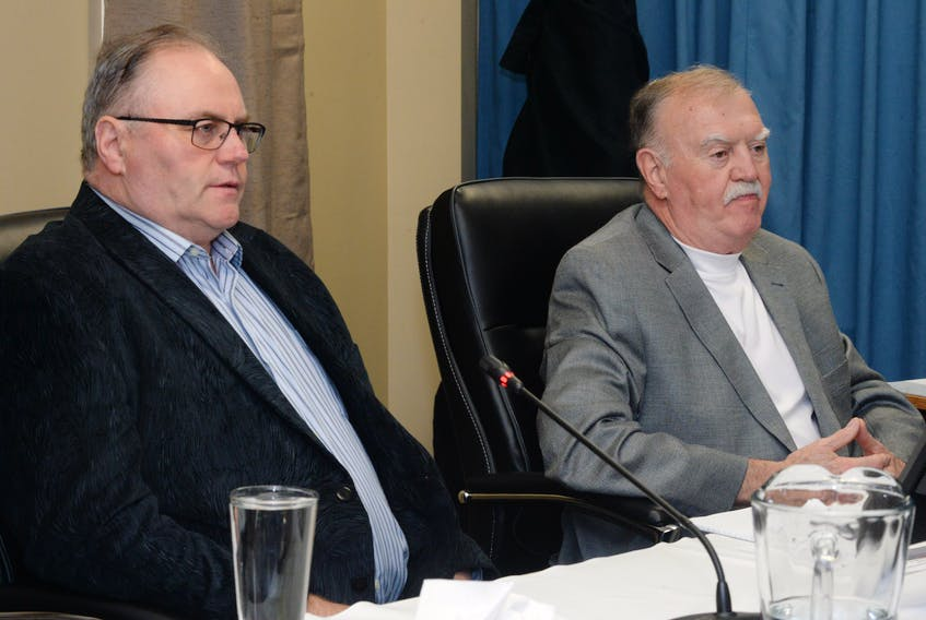 Tom Walsh (left) and Pat McCormack of the Newfoundland and Labrador Building Construction and Trades Council, began Monday afternoon's testimony before Inquiry Commissioner Richard LeBlanc at the Commission of Inquiry Respecting the Muskrat Falls Project in St. John's.