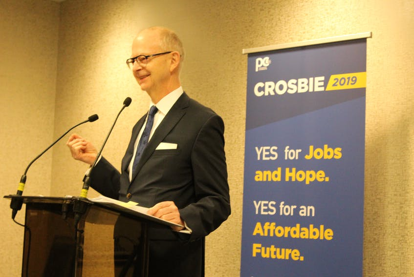 Progressive Conservative Leader Ches Crosbie delivers his campaign platform to supporters and media Tuesday at the Holiday Inn Express in St. John's.