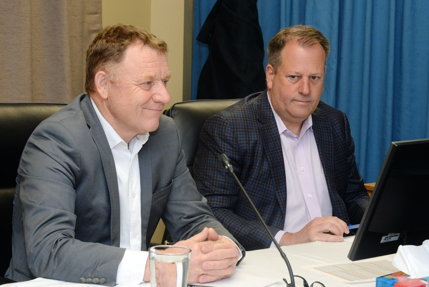 Thierry Martin (left) and Laszlo von Lazar of Grid Solutions Canada testified Friday at the Commission of Inquiry Respecting the Muskrat Falls Project at the Beothuck Building in St. John's.