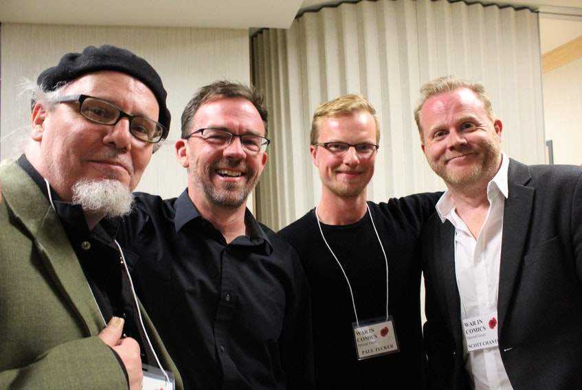 Four of the five artists whose work is on display spoke at the opening reception of the War in Comics exhibition Thursday evening at CFS St. John's. From left: Wallace Ryan, Jason Lutes, Paul Tucker, and Scott Chantler.