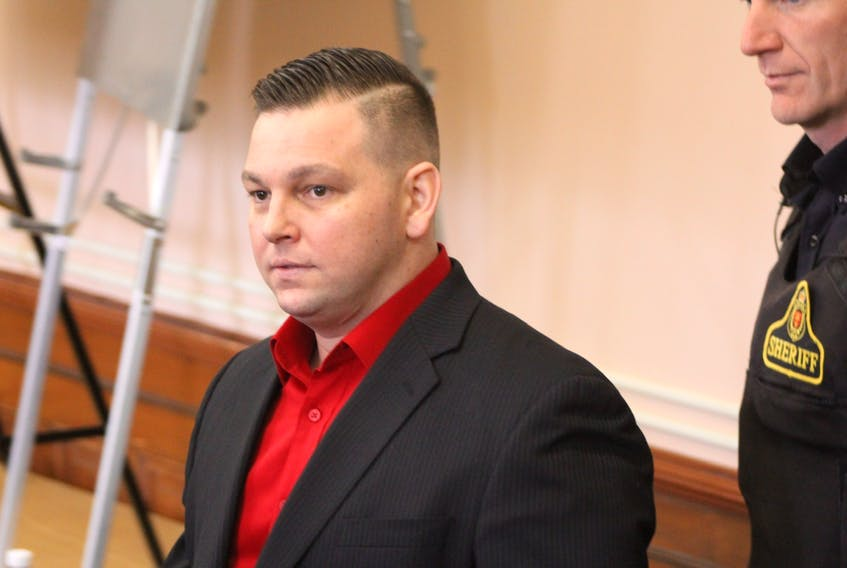 Craig Pope in Newfoundland and Labrador Supreme Court in St. John's during his murder trial Friday.