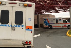 Ambulances park outside the Emergency Entrance at the Health Sciences Complex in St. John's.