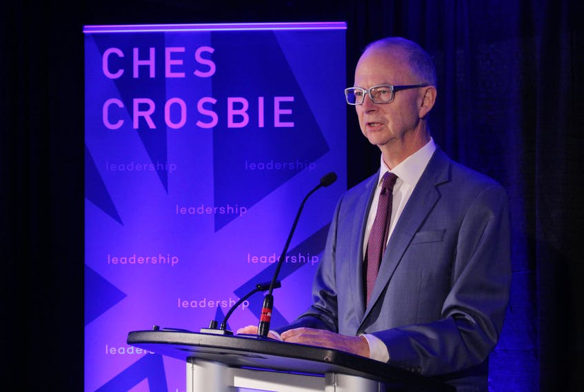 Ches Crosbie speaks to supporters and reporters at his campaign launch Tuesday, where he officially announced he is running for the Progressive Conservative party leadership. He also revealed that 24 years ago he was convicted of refusing the breathalyzer while drinking and driving.