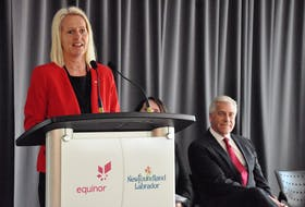 Unni Fjaer, Equinor Canada vice-president of offshore Newfoundland, speaks during a news conference announcing a framework agreement with the Government of Newfoundland and Labrador for the Bay du Nord project.