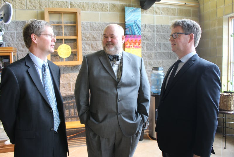 Paul Stratton (left), Auburn Warren (centre) and Bob Moulton from Nalcor Energy were called as a panel of witnesses at the Muskrat Falls Inquiry, speaking about forecasting for power demands and planning generation needs for the province, producing information ultimately contributing to the decision to sanction the hydroelectric project. - Ashley Fitzpatrick