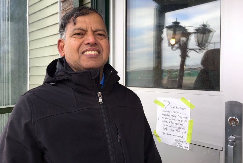 Haseen Khan, treasurer for the Muslim Association of Newfoundland and Labrador, outside the Masjid-an-Noor Mosque in St. John's on Friday evening. The member of MANAL's Friday imams team said Muslims are banding together to pray for victims and the injured following the shooting deaths of 49 Muslims gathered for prayers in a mosque in New Zealand.