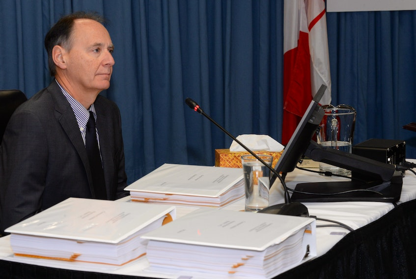 Nalcor Energy chief financial officer (CFO) Derrick Sturge at the Muskrat Falls Inquiry on Wednesday.
