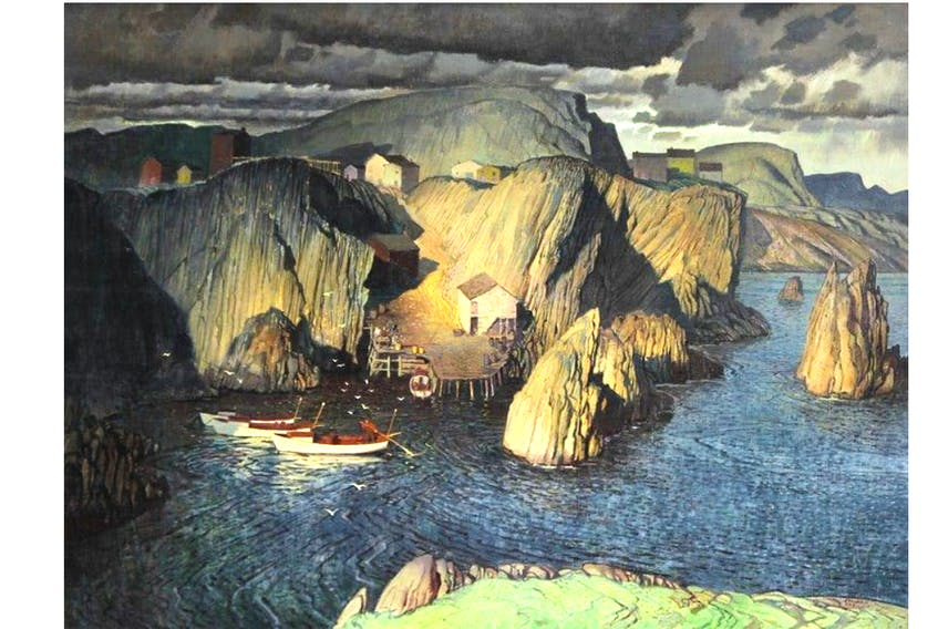 """""""True Lovers Leap, Newfoundland,"""" painted by the late Franklin Arbuckle of Toronto, sold for $30,680 — five times more than the opening bid of $6,000 in an online auction held by Cowley Abbott auctioneers. Residents of the Port de Grave Peninsula know the story that inspired the painting."""
