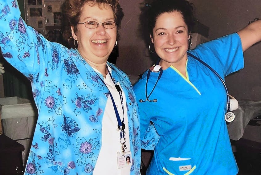 Donna Howell on her last day before retiring from nursing at the Health Sciences Centre in St. John's in 2006, and her daughter, Lori Greene on her first official day of nursing.