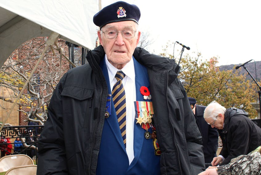 Beth Penney/The Telegram — Charles Starkes, a Second World War veteran, stands proudly at the 2017 Remembrance Day ceremony in St. John's.