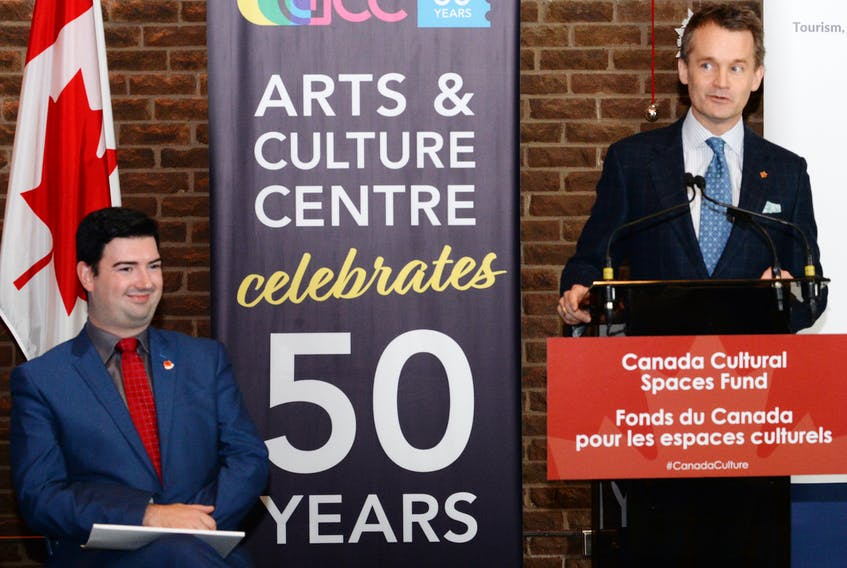 Tourism, Culture, Industry and Innovation Minister Chris Mitchelmore (left) and St. John's South-Mount Pearl MP Seamus O'Regan announce a contribution of $1.9-million federally and $1.4 million provincially for upgrades to the province's six arts and culture centres.
