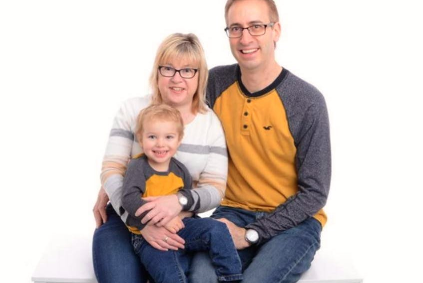 Jackie Thomas of Kitchener, Ont., has been diagnosed with VAMP1, a rare genetic disease affecting certain families originating from Newfoundland and Labrador. With her are her husband, Steve, and son, Jacob, 4.