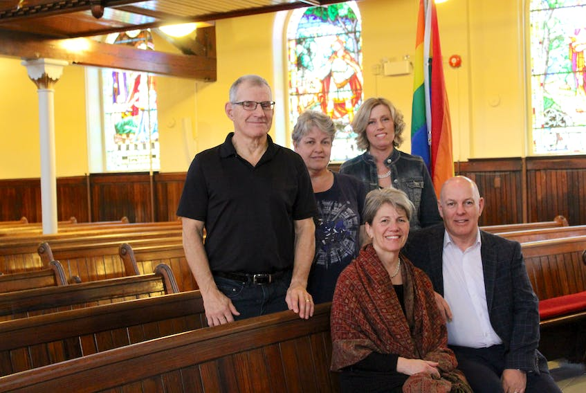 Gower Street United will hold a affirmation celebration June 5 beginning at 7 p.m. Affirming ministries are congregations and other ministries within the United Church of Canada that publicly declare their commitment to inclusion and justice for people of all sexual orientations and gender identities. Committee members include (standing, from left) Gower United board chairman Lorne LeDrew, Barb Myles and Rev. Pamela Jones-Fitzgerald and (seated) Gail Wideman and Larry Kelly. Not shown are committee member Jill Handrigan and Ken Peters.