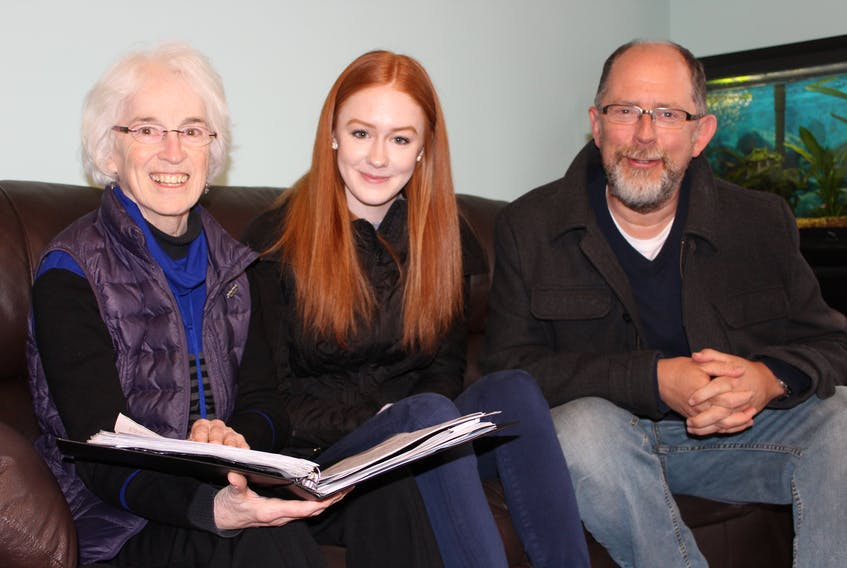 """From left, Helen Murphy, volunteer choir director, Rachel Cousins and Rob McLennan, director of employment services at Stella's Circle, have worked hard the past few weeks to put together the """"Just Sing"""" program that will hit the stage May 15 at 7 p.m. at the D.F. Cook Recital Hall at Memorial University."""