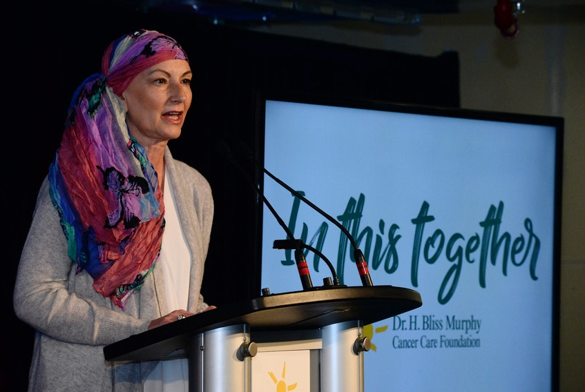 """Cancer patient 54-year-old Juanita Dinn of St. John's speajs of her cancer ordeal at the launch of the Dr. H. Bliss Murphy Cancer Care Foundation """"In This Together"""" capital campaign last Thursday."""