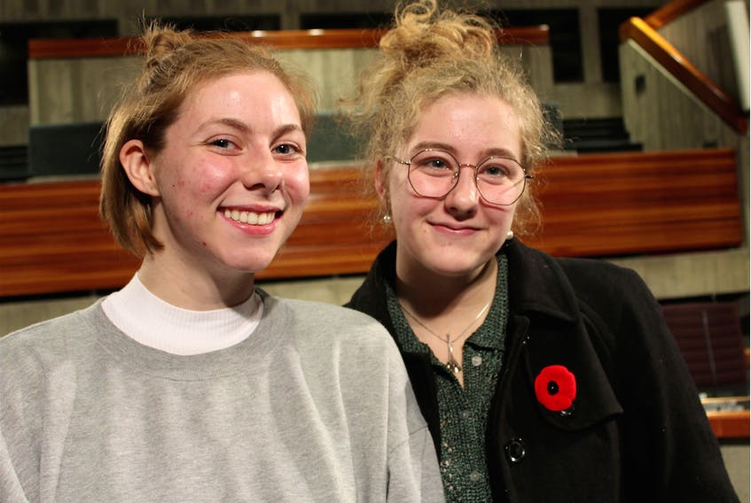 Fridays for Future activists Hannah Baker (left), 18, and Alice Ferguson-O'Brien (right), 15, said they will hold city council to account on climate change, and will continue to strike — the next climate strike is planned for Friday, Nov. 29 at 11 a.m. at the Memorial University clock tower. They will march to the Confederation Building.