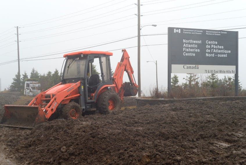 Excavation work was carried out Wednesday on the hill at the Department of Fisheries and Oceans facility at White Hills in St. John's where Twillingate fisherman Richard Gillett held an 11-day hunger strike in April.