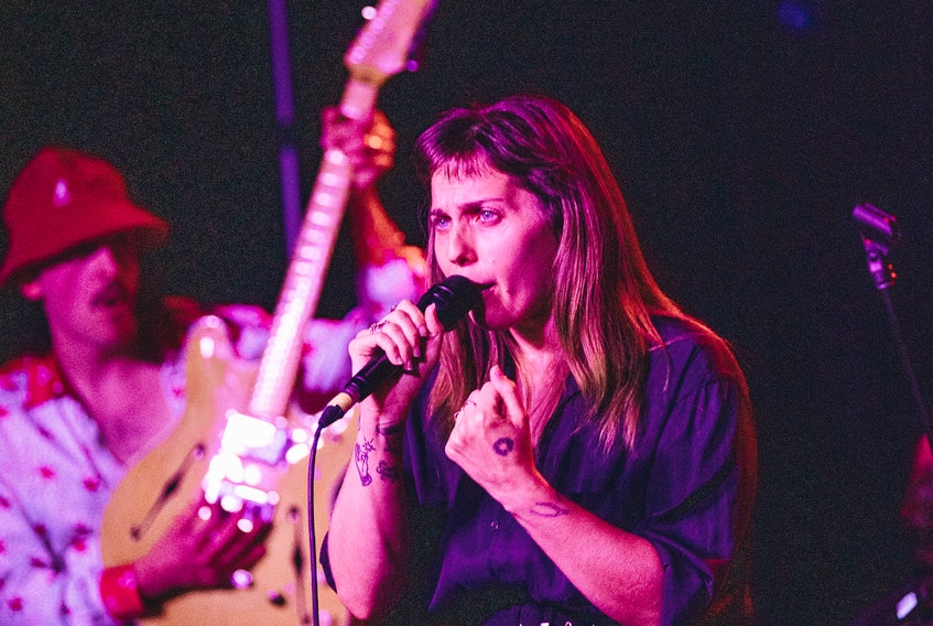 """Playing as a 10-piece band, U.S. Girls filled Club One with longtime and brand new fans. The band released """"In A Poem Unlimited"""" in February of 2018 and played a number of selections from the album, including bangers """"Rosebud,"""" and """"Pearly Gates."""" — Adam Hefferman photo"""