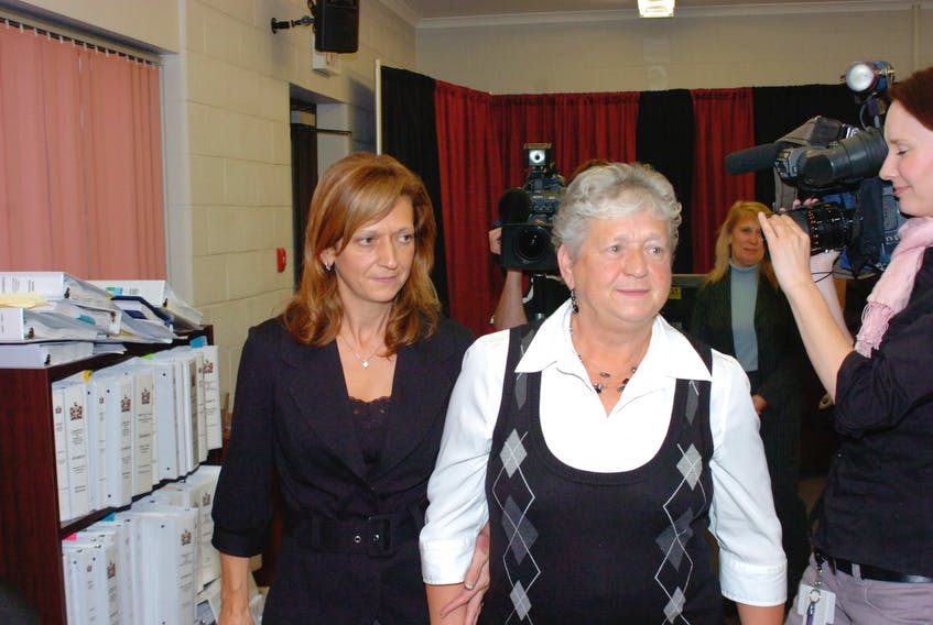 Elizabeth Finlayson (right) at the Cameron Inquiry in 2008 with her daughter Jane Hopkins. — TELEGRAM FILE