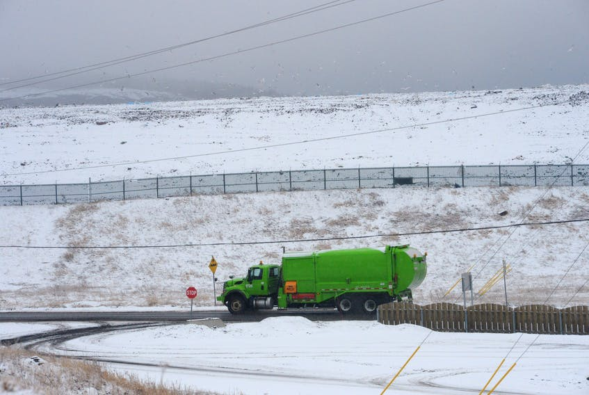 A City of St. John's garbage truck enters the Robin Hood Bay landfill site on Friday morning.