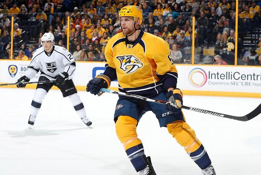 This fall, Adam Pardy will be skating for the ECHL's Newfoundland Growlers, just 21 months after appearing in the NHL for the Nashville Predators. But don't think for a moment  the defenceman from Bonavista is chagrined about playing for a team in minor hockey's AA league. He's actually looking forward to it. — Nashville Predators photo/via NHL.com