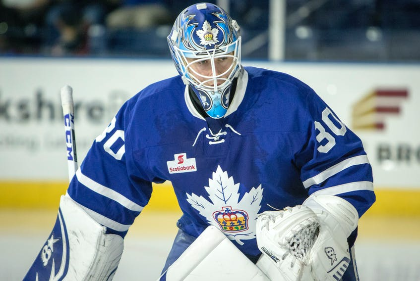 In this Oct. 15, 2017 file photo, Toronto Marlies' goaltender Kasimir Kaskisuo is shown in an American Hockey League game against the Springfield Thunderbirds in Springfield, Mass. Kaskisuo was assigned to Orlando of the ECHL for a couple of games last season and while in the ECHL, earned about US$,2,700 per week under terms of his entry-level contract with the Toronto Maple Leafs. However, under ECHL rules, Orlando was only charged $525 per week against the league salary cap for Kaskisuo. That rule should prove important for the Newfoundland Growlers as the new ECHL team begins an affiliation with the Maple Leafs, one that will be officially announced this week. — Springfield Falcons photo/Danny Baxter