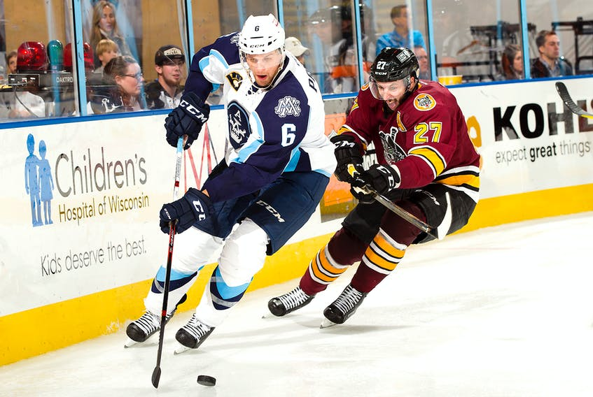 File photo Milwaukee Admirals — Adam Pardy spent most of ther 2016-17 American Hockey League season with the AHL's Milkwaukee Admirals, the farm team of the NHL's Nashville Predators. After becoming a free agent in the summer, the 33-year-old Pardy didn't play during the first part of the current season, but has signed a contract with Frolunda in Sweden's top league.
