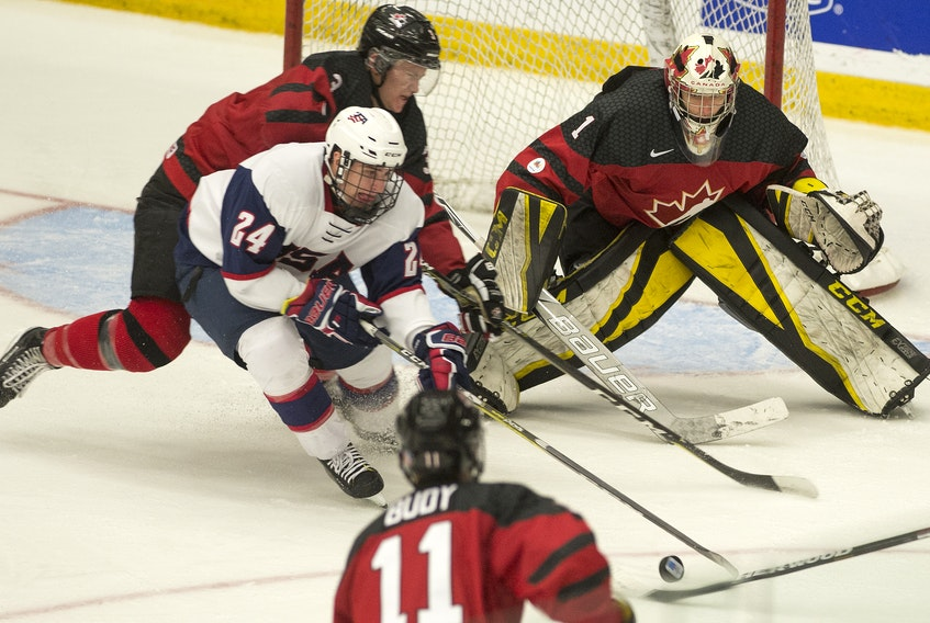 SaltWire Network/Mark Goudge/Truro Daily News — Zach Rose (1) had a 1.58 goals-against average and .942 save percentage at the World Junior A Challenge in Truro, N.S., a stats line that was bolstered by his 35-save performance in Canada West's 5-1 win over the United States in the gold-medal game.