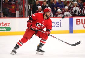 Gregg Forwerck/Carolina Hurricanes - Clark Bishop of St. John's saw seven minutes and 10 seconds of ice time in his NHL debut Saturday for the Carolina Hurricanes. The visiting Colorado Avalanche came away with a 3-1 win.